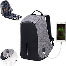 Sonolife Mochila Antirrobo Contraagua para Laptop con Acceso para Carga de Celular USB y Bolsillos Organizadores para Viaje o Negocios Unisex (Gris)