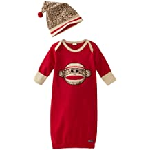 Sozo Baby-Boys Newborn Sock Monkey Gown and Cap Set