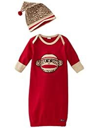Sozo Baby Boys Red Monkey Face Applique Cotton Cap Nightgown Outfit 0-6M