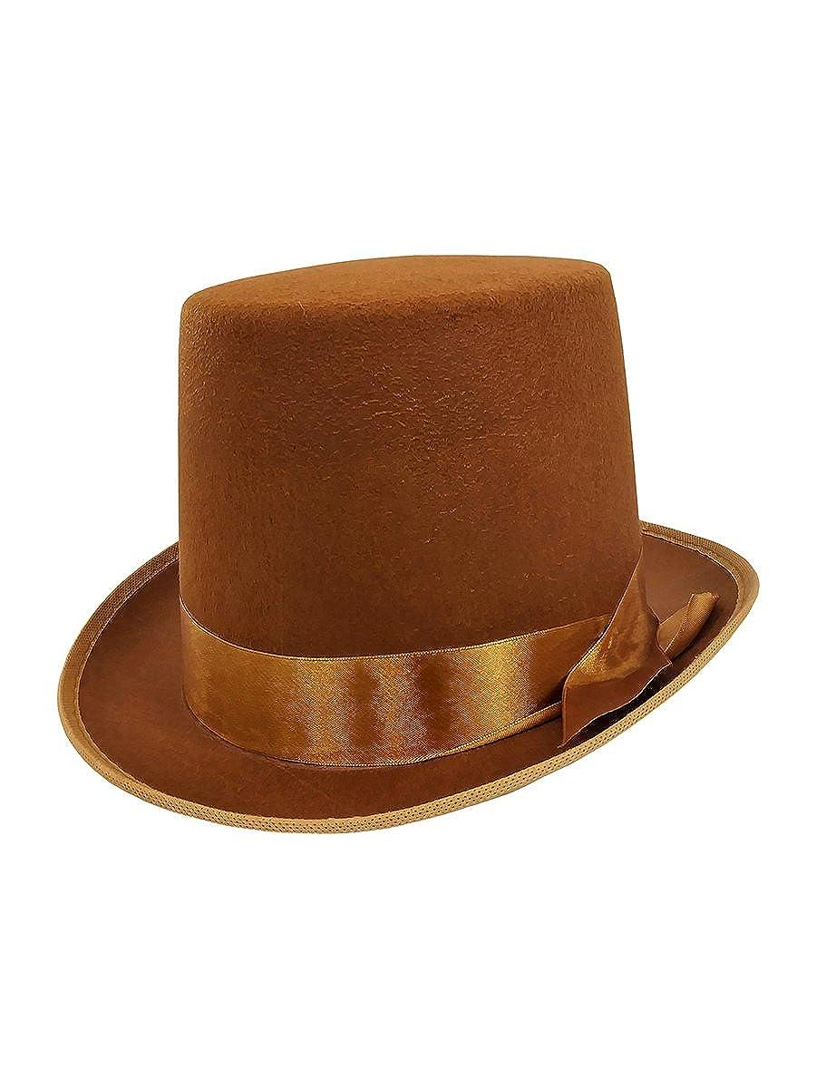 Mens Tall Steampunk Brown Bell Caroler Hop Topper Victorian Costume Top Hat Nicky Bigs Novelties 90960