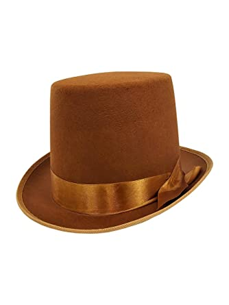 620814a217ece Amazon.com: Mens Tall Steampunk Brown Bell Caroler Hop Topper Victorian  Costume Top Hat: Clothing