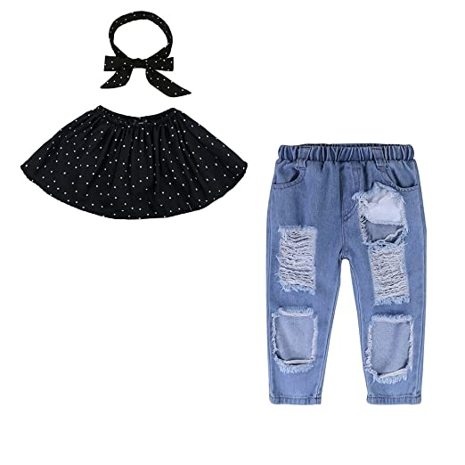 f0288077ada998 Image Unavailable. Image not available for. Color  Mary ye Toddler Kids  Girls Black Off Shoulder Tops+Pants+Headband 3Pcs Outfits Set