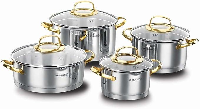 طقم أواني الطهي كوركماز ستانلس ستيل 8 قطع – A1046