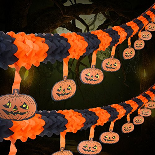 2 Pack Halloween Party Pull Flower Decoration Artfen Halloween Paper Garland Banners Pumpkin Flowers Hanging Type Home Hotel Office Party Garden Bar Decor (9.9ft each) -