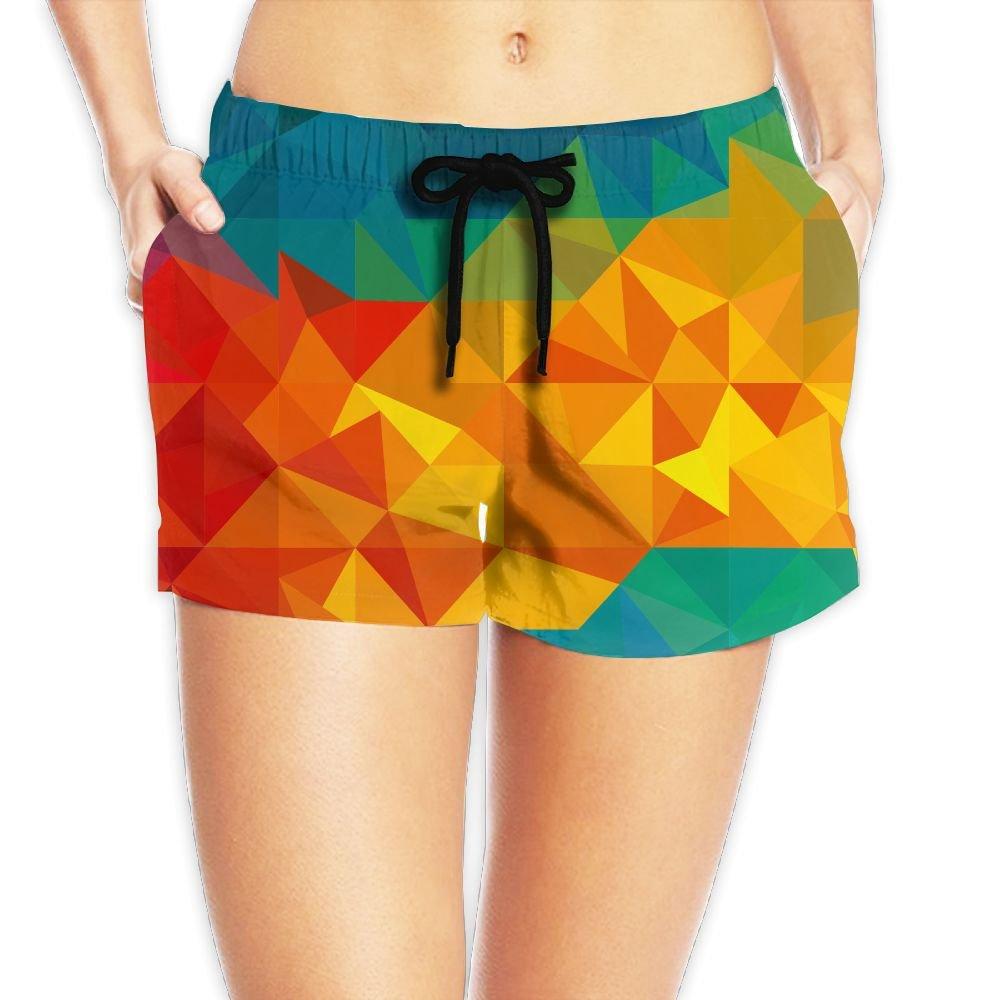 Sakanpo Irregular Geometric Figure Women Girl Short Beach Pant Quick-Drying Board Pants Large
