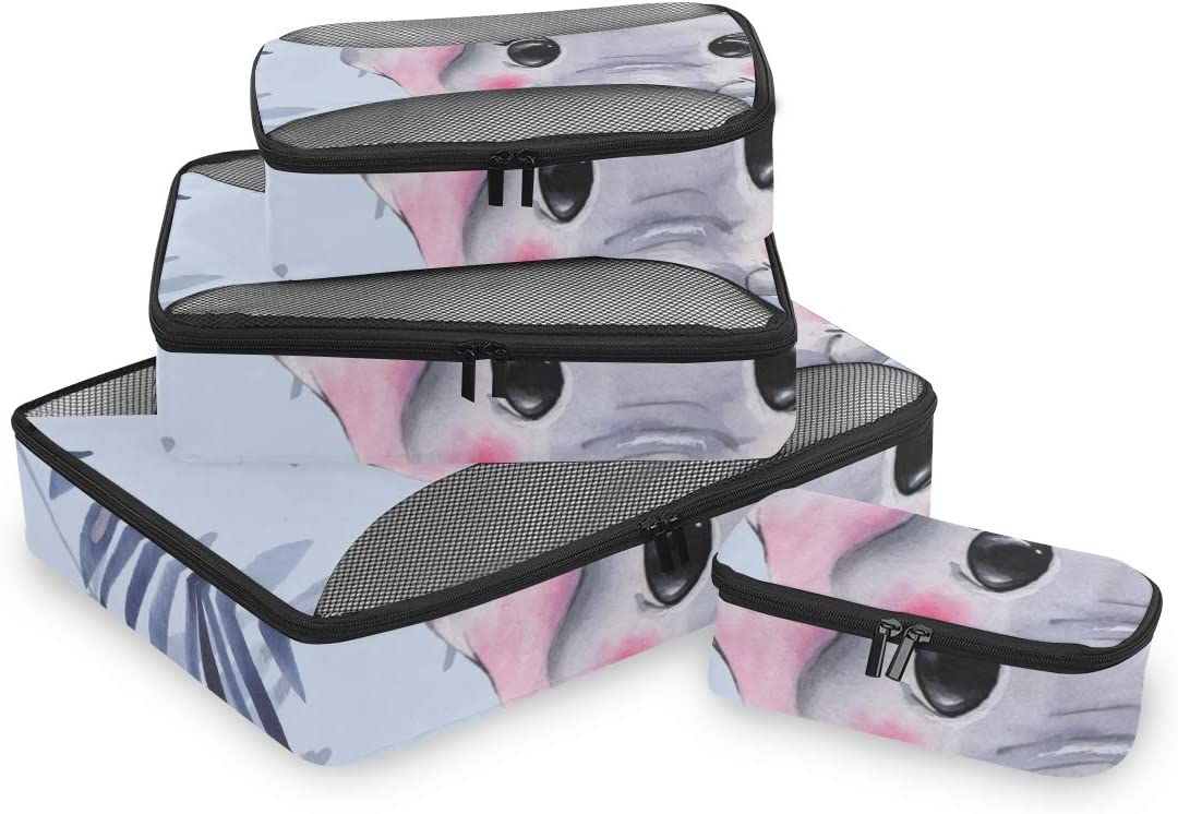 4 Set Packing Cubes Travel Luggage Packing Organizers Pattern With Elephants