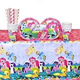 My Little Pony Party Pack for 16 Guests: Straws, Plates, Napkins, Cups, and Table Cover (Bundle for 16) offers