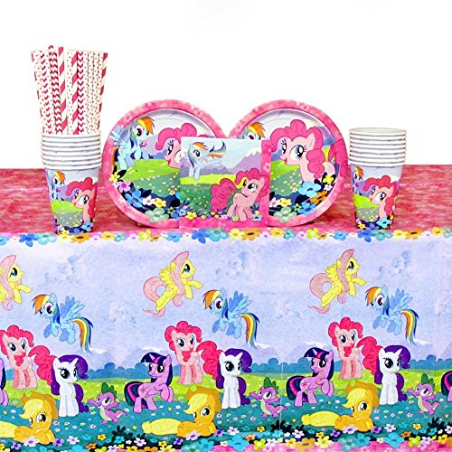 Cedar Crate Market Bundle: My Little Pony Party Pack for 16 Guests: Straws, Plates, Napkins, Cups, and Table Cover (Bundle for 16)