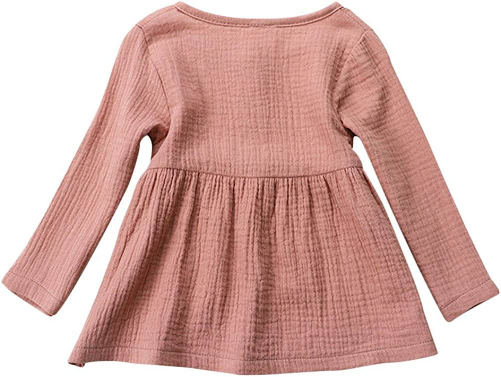 Baby Girls Round Neck Long Sleeve Cotton Linen Tops Dresses