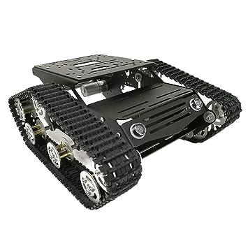 FLAMEER Durable Chasis De Aluminio del Tanque del Coche Kits De Orugas con Motores 9 V para Arduino DIY Robótica Aprendizaje RC Racing Car Modificado Part: ...
