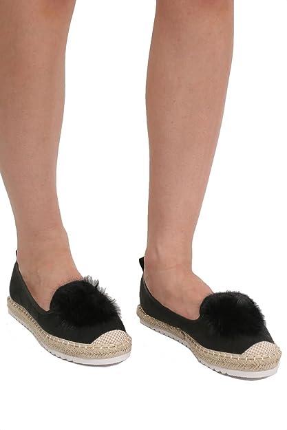 6cd78923d2c PILOT® Women s Faux Fur Pom Pom Detail Faux Suede Espadrilles in Black