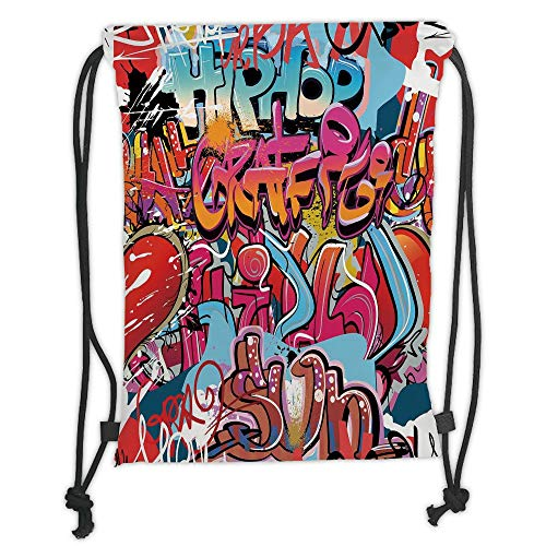 New Fashion Gym Drawstring Backpacks Bags,Graphic Decor,Hip Hop Street Culture Harlem New York Wall Graffiti Spray Artwork Image,Multicolor Soft Satin,Adjustable String Closure,Th (Olivia Love And Hip Hop New York)