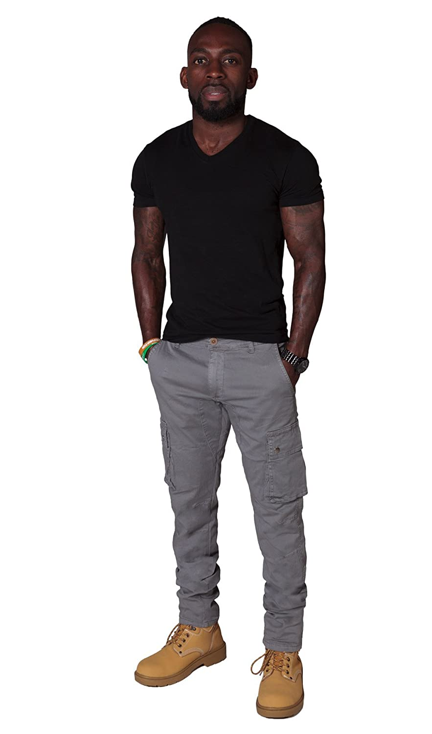 Slim Fit Men's Cargo Trousers - Grey