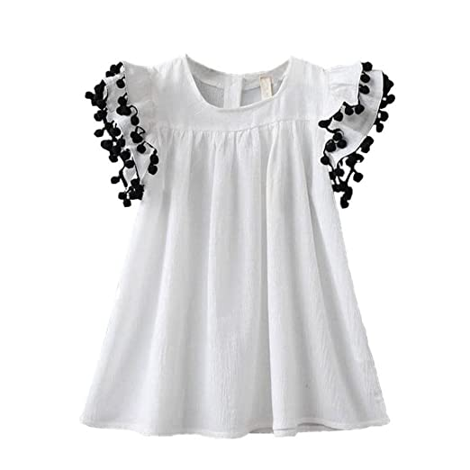 855106254 Amazon.com  Fabal Toddler Infant Kids Baby Girl Tassel Dress Clothes ...