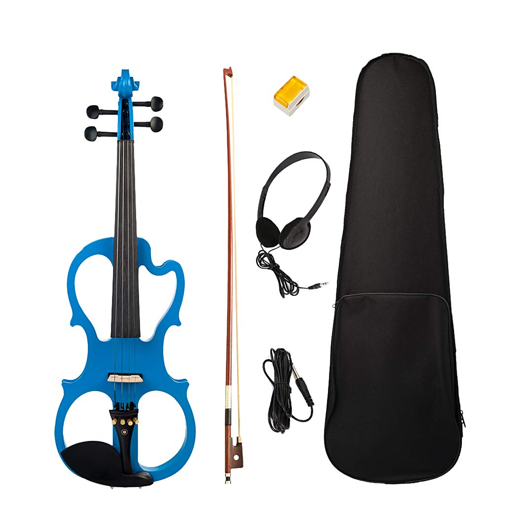 Homyl Exquisite Solidwood Electric Silent Violin Blue with Rosin Bow Hard Case Headphone Cable, 4/4