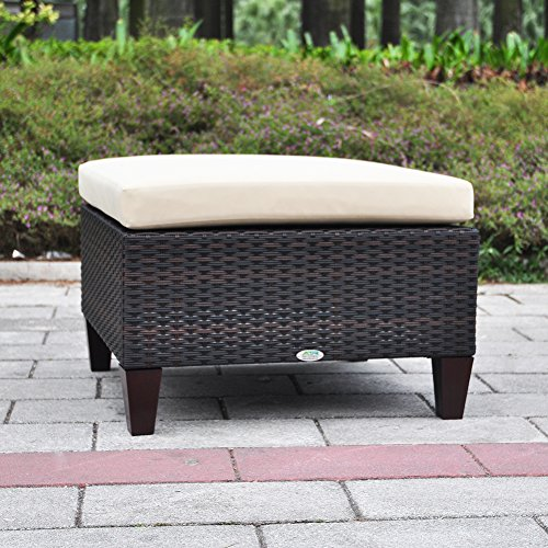 Outdoor Patio Wicker Ottoman Seat With Cushion, All