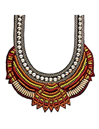 Ethnic Style Women Chunky Choker Gold Plated Beaded Collar Necklace