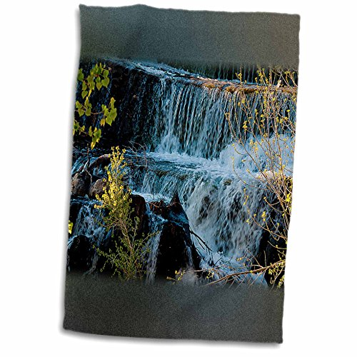3dRose Jos Fauxtographee Realistic - Fast Moving Waterfall Flowing Over Rocks at Baker Dam in Southern, Utah with Hues of Blue and Green - 12x18 Towel (twl_49677_1) (Moving Waterfall)