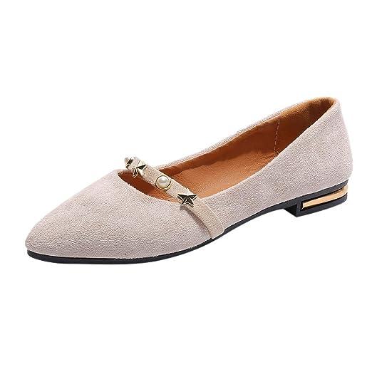 10b89413ae11f Amazon.com: New Woman's Single Shoes Ladies Rivet Pointed Toe Slip ...