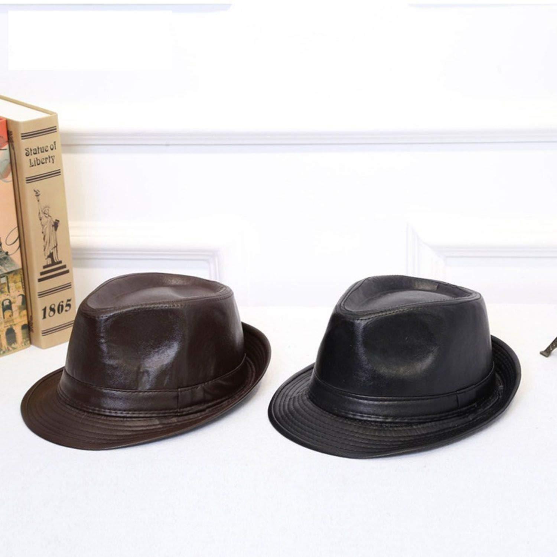 Fedora Hats Unisex Autumn Winter Classic PU Leather British Style Panama Bowler Hat Black
