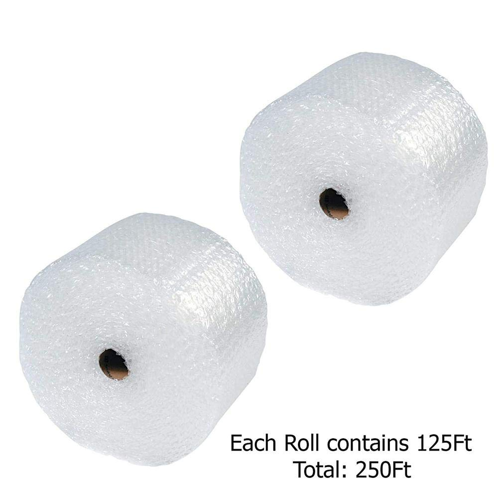 Yaheetech 250ft x 12'' Large Bubble Cushioning Wrap Roll 1/2'', Perf 12'' (2 Pack, 125 Feet Per Pack)