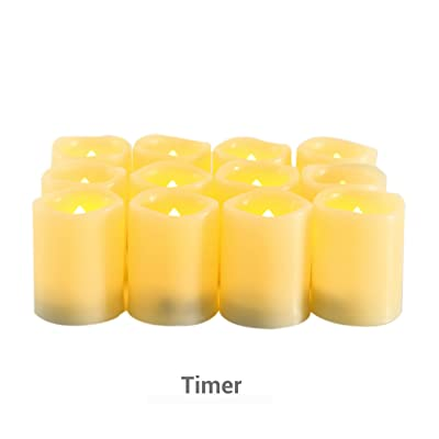"""Candle Choice Flameless Candles Timers Battery Operated Votive Candles with Timer, Long Battery Life Set of 12, 1.5x2.0"""": Home Improvement"""