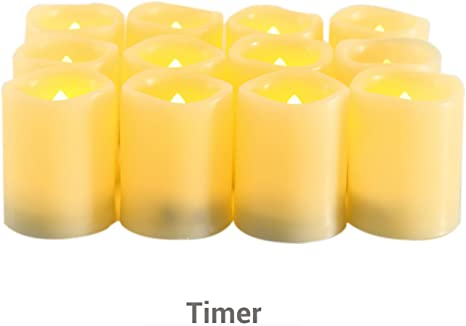 Candle Choice Ivory Plastic Cover Amber-Color Tealight With Timer Set Of 6