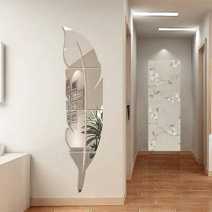 YNuth 18*80CM Stickers Miroir Effet Plume Design Pour Salon Chambre ...