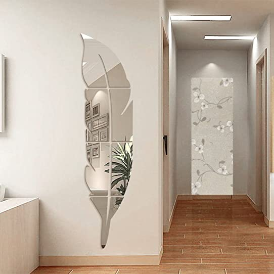 Ynuth Stickers Miroir Effet Plume Design Pour Salon Chambre Salle