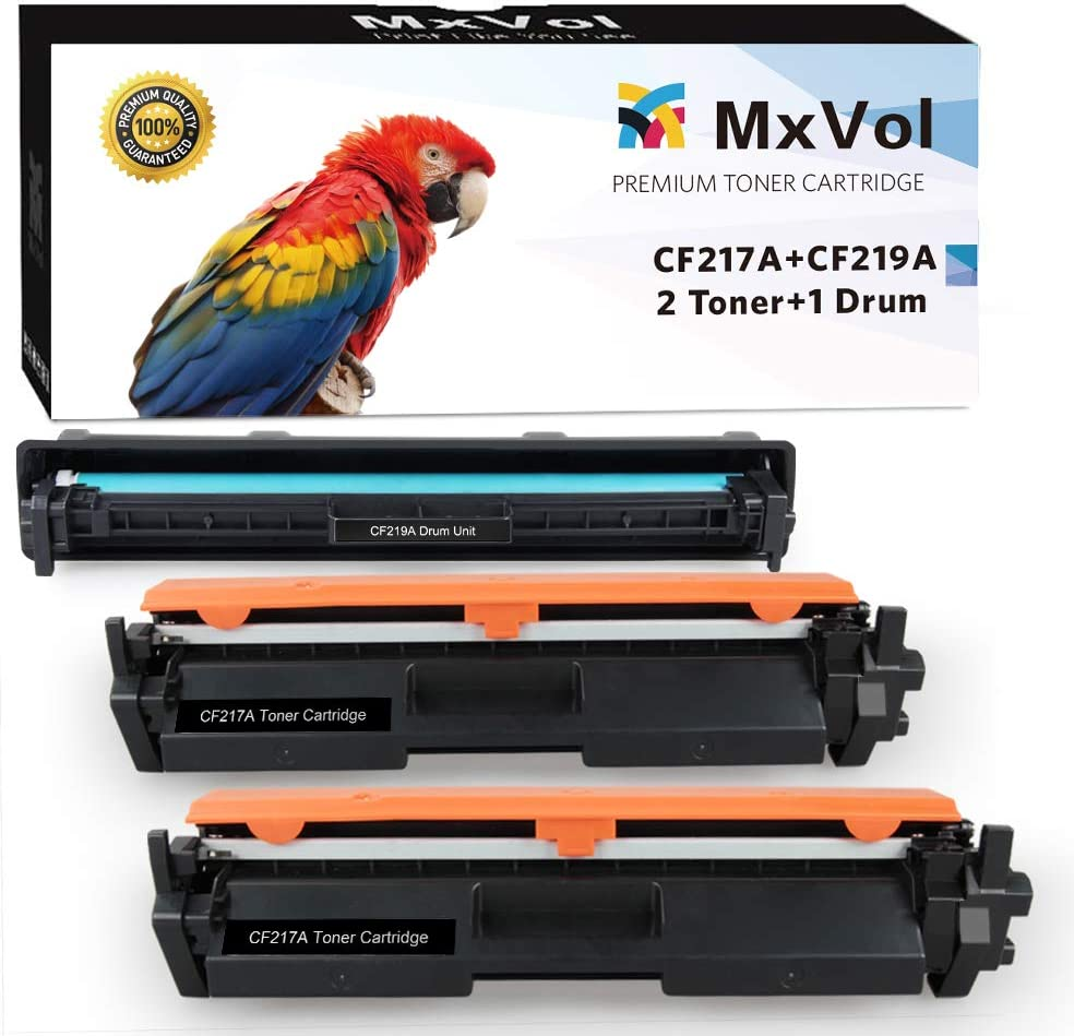 MxVol Compatible HP 17A CF217A Toner Cartridges 2-Pack & 19A CF219A Drum Unit 1-Pack, use for HP Laserjet Pro M102w M130fw M130nw M130fn M102 M130 Series Printer (1D+2T) (Black)