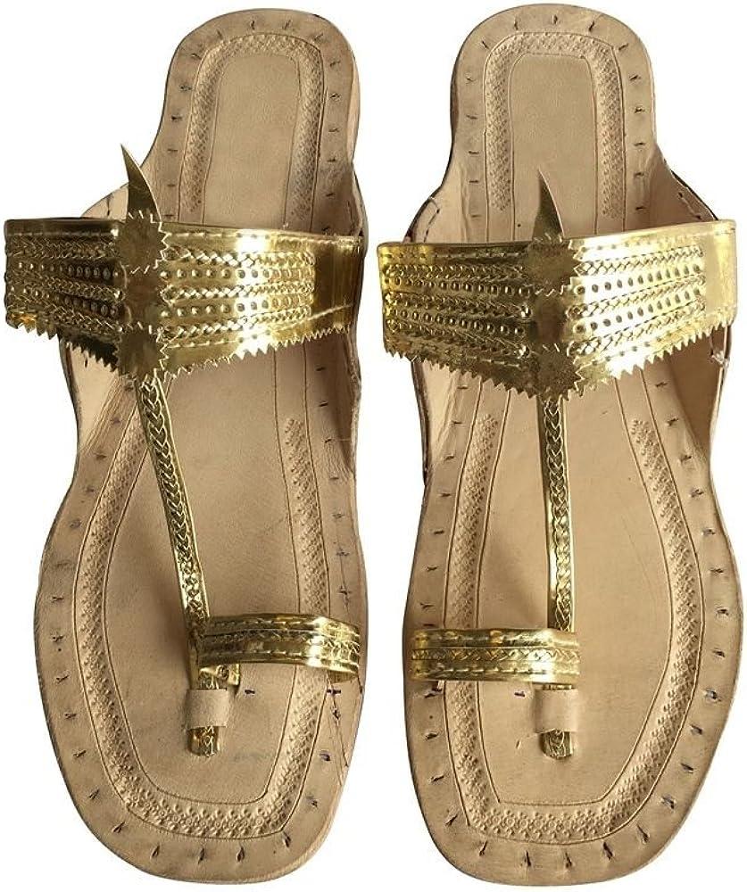 Step n Style Indian Handmade Leather Kolhapuri Slipper Mojadi Jutti Kurti Sandals