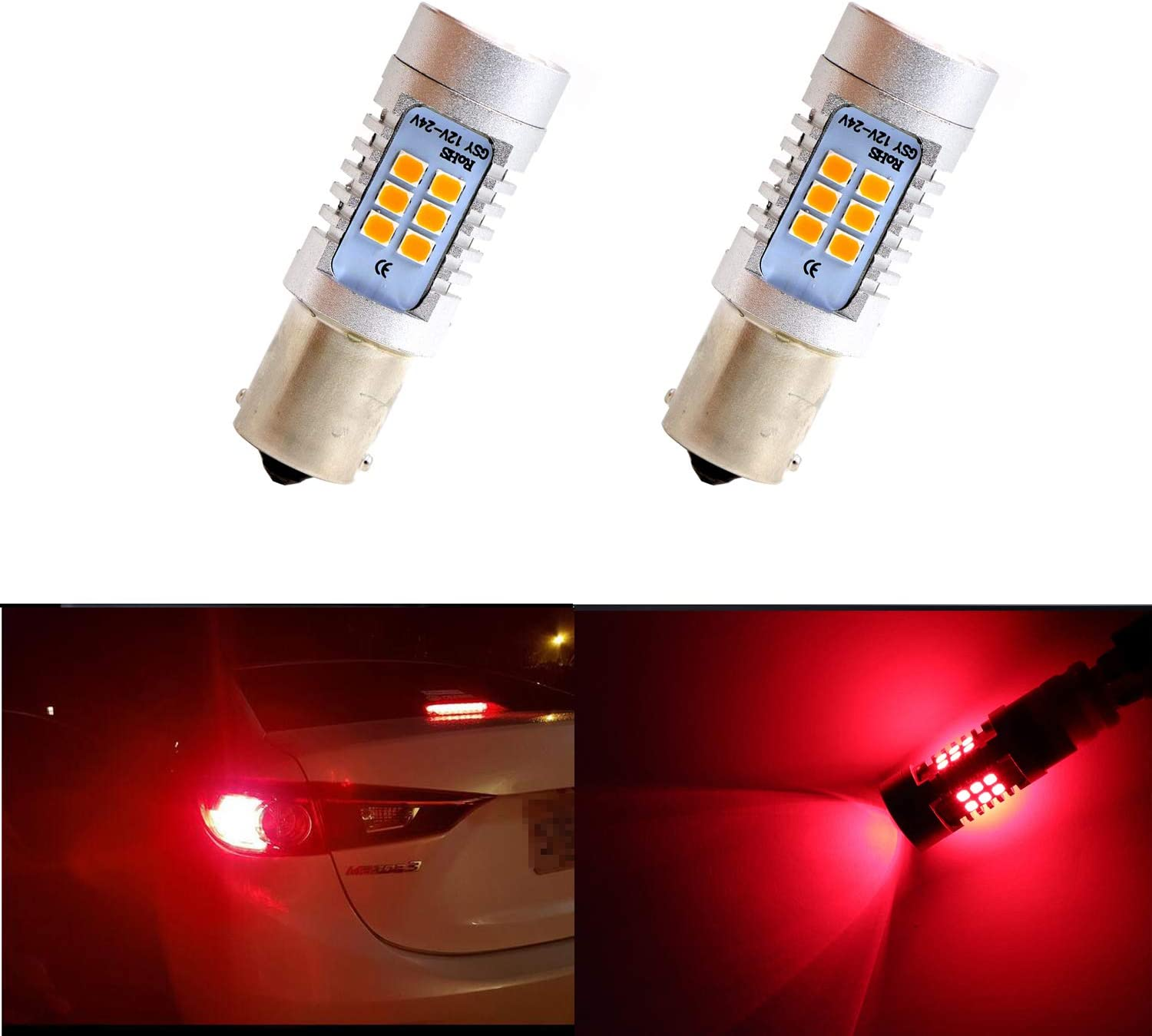 Extremely Bright 1157 7528 LED BAY15 Bulb Brake Light Bulbs 33 SMD Brilliant Red Tail Lights Stop Lamp with Projector Lens Replacement 2pcs