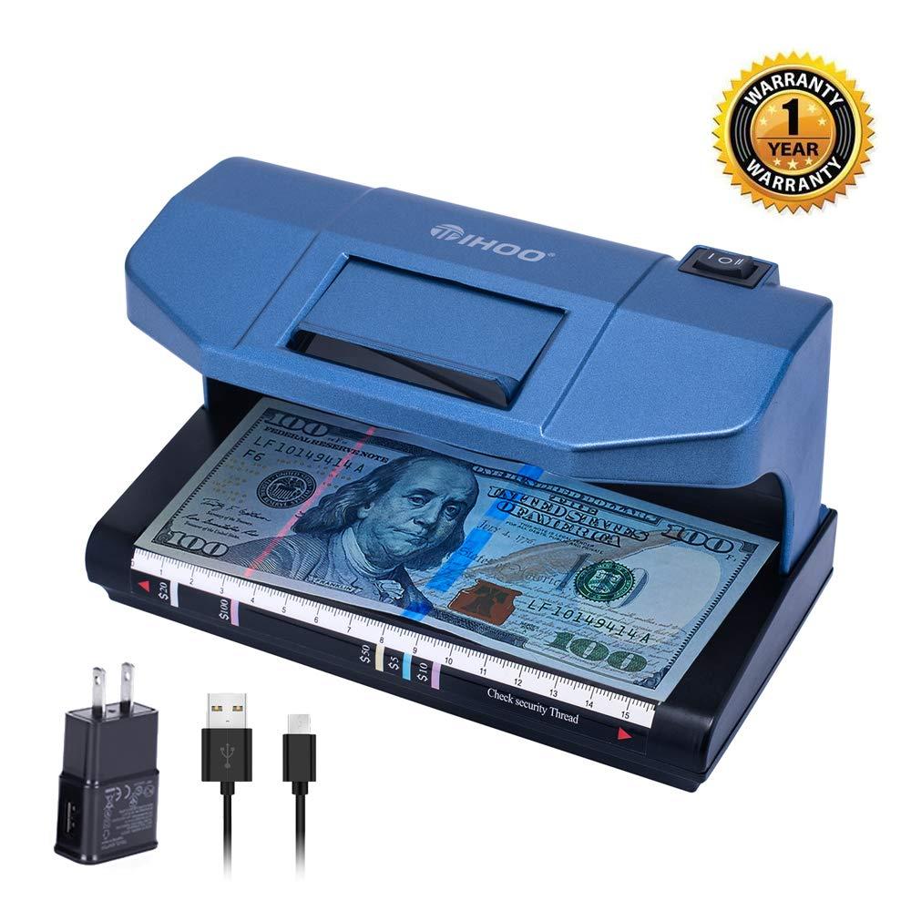 TIHOO Money Marker Counterfeit Bill Detector, Fake Bill Counterfeits Money Detector, Mulit-Function Counterfit Detection Bill Checker, Blue by TIHOO