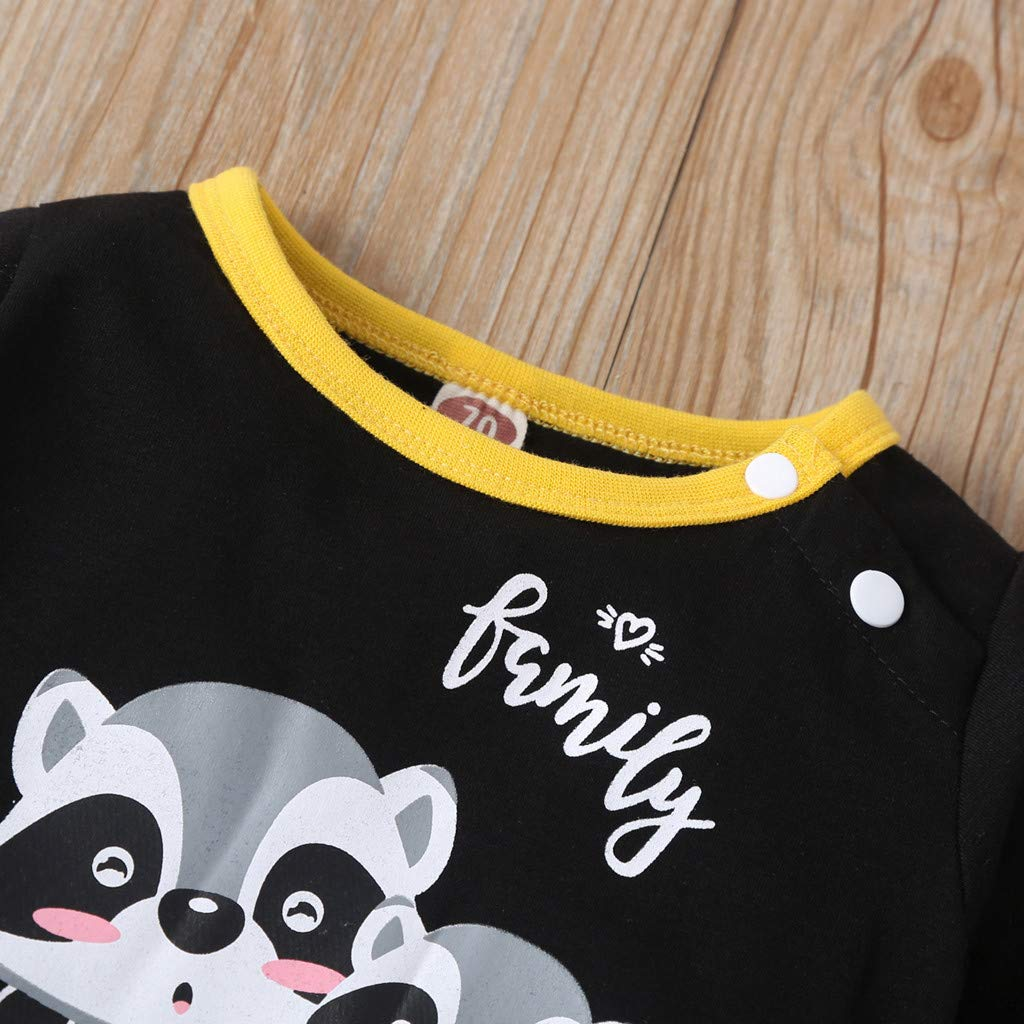 MomentDAY Spring Romper 0-2 Years Toddler Infant Newborn Baby Kids Girl Boy Long Sleeve Raccoon//Bee Print Jumpsuit Bodysuit