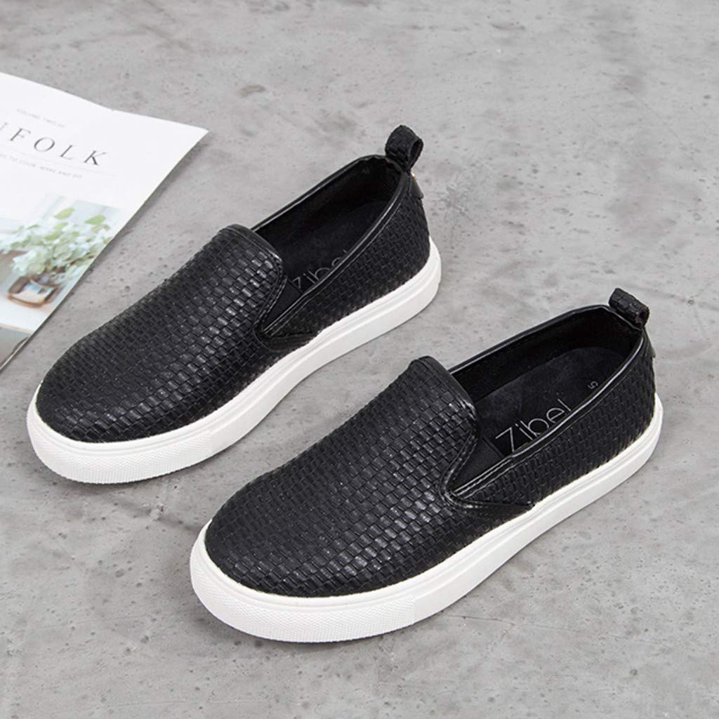 ✔ Hypothesis_X ☎ Women's Preforated Slip On Sneakers Roman Plus-Size Flat Casual Pumps Shoes Black by ✔ Hypothesis_X ☎ Shoes (Image #3)