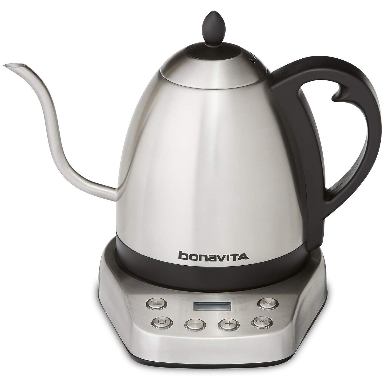 Bonavita BV07002US Interurban 1L Variable Temperature Brushed Stainless Steel Electric Kettle,