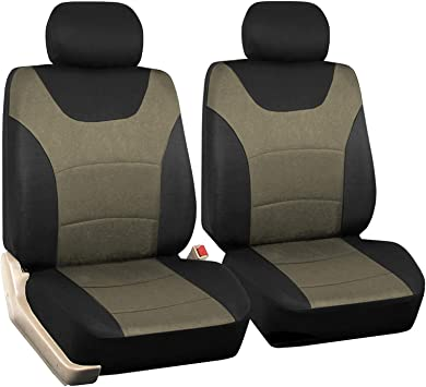 Truck Car Front Seat Covers 2 Pcs Universal Fit Seat Covers for Sedan Black Tan SUV 1 Pair of Cloth Bucket Seat Covers