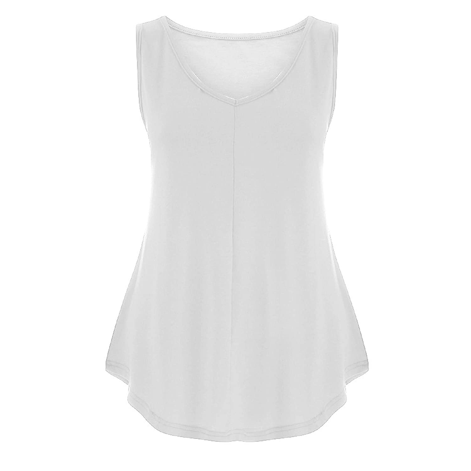 Plus Size Womens Summer Sleeveless Solid Tank Top Casual Loose Vest Top Daily Work Baggy T Shirt Workout Blouse