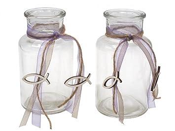 2 Vasen Grun Rosa Pink Lila Fisch Vintage Kommunion Konfirmation
