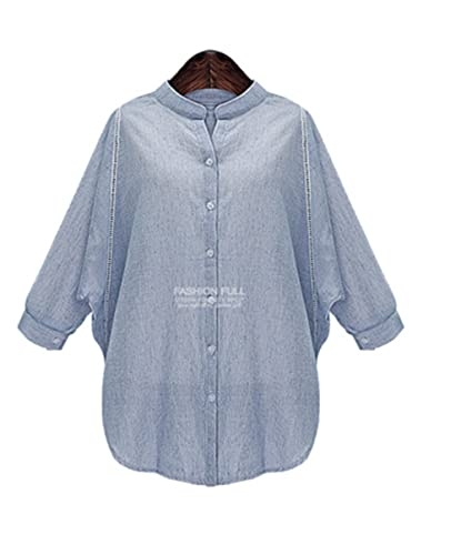 jothin Otoño Mujer Manga Larga Cuello Alto Camisa grandes tamaños Blusas Business Camisetas punteras lose einfarbige