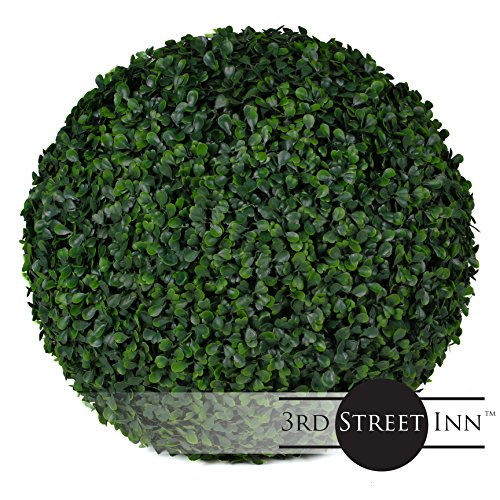 3rd Street Inn Boxwood Topiary Ball - 15'' Artificial Topiary Plant - Wedding Decor - Indoor/Outdoor Artificial Plant Ball - Topiary Tree Substitute (2, Boxwood) by 3rd Street Inn