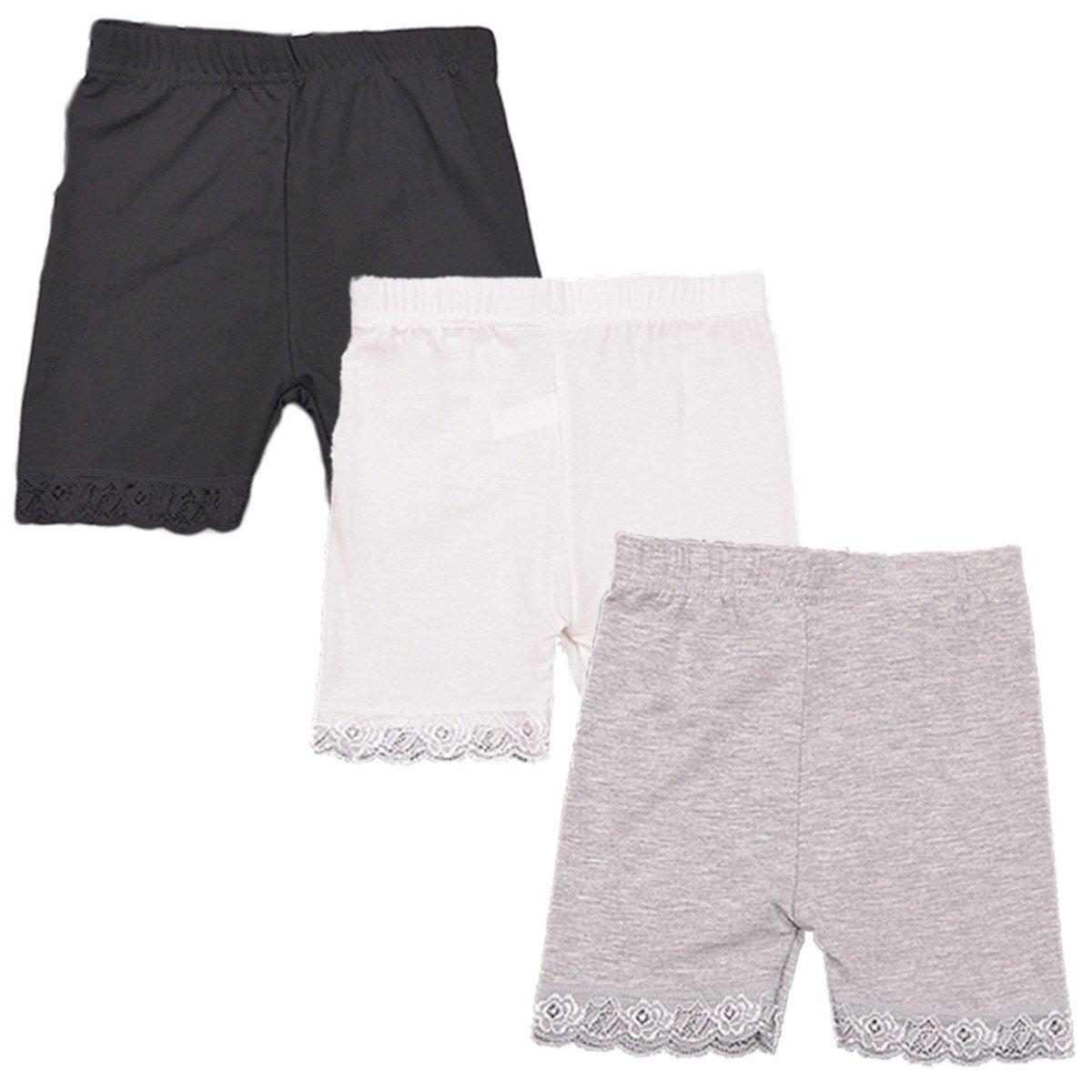 JELEUON 3 Pcs Little Girls Kids Boy-Leg Slim Elastic Safety Short Lace Trim Panties Dancewear 4-5 Y