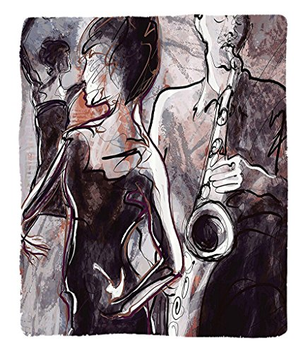 Chaoran 1 Fleece Blanket on Amazon Super Silky Soft All Season Super Plush Jazz Music Decor etIllustration of Jazz Man Playing theaxophone with Dancers Classic Home Decor Accessories ExtraDark Mauve (Nba Dancers Halloween)