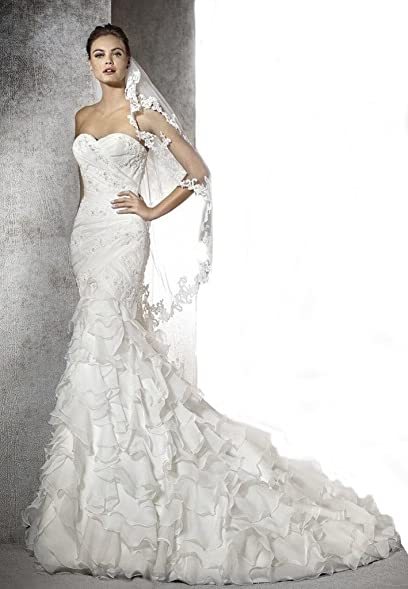 Gogh Ivory SPECIAL VALUE Oleg Cassini Strapless Ruffled Skirt Wedding Dress Size US2
