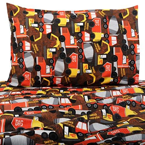 Bed Bath Fashions Kids 3 Piece Soft Brushed Microfiber Twin Sheet Set - Hypoallergenic Juvenile Children's Bedding Sheets (Build It)