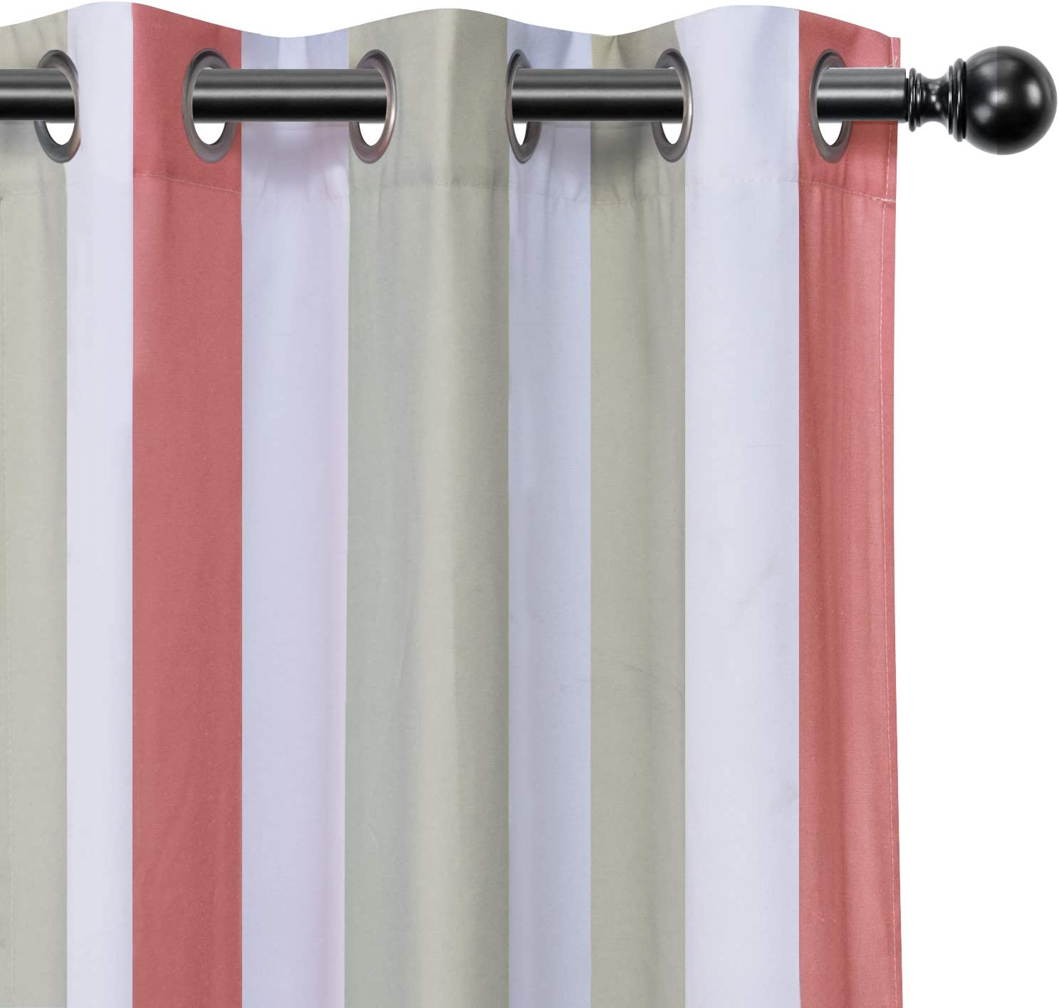 LORDTEX Grey and Coral Striped Kids Curtains for Bedroom - Light Filtering Polyester Cotton Blended Grommet Window Drapes for Boys and Girls Room, 36 x 54 Inches Long, Set of 2 Panels