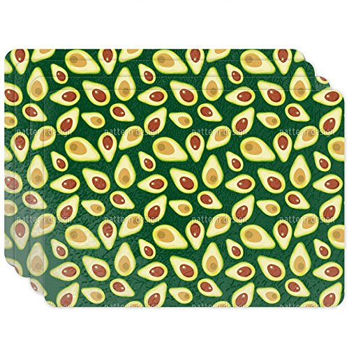 Placemat Unique Custom Printed Placemats - Washable Woven Fabric Decorative Table Mat - For Kitchen Table, Dining Table - Design: Avocado - Set of 4 by uneekee