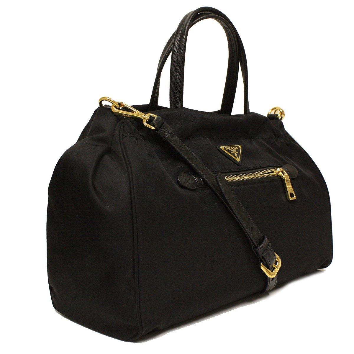 15541bfceb32 Amazon.com: Prada Tessuto Saffian Nylon and Leather Shopping Tote Bag  B1843M, Black / Nero: Shoes