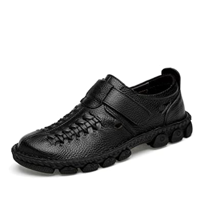 Comodo Mocasines Sandalias Piel Hombre Verano Elegantes Ancho Zapatos Cuero Retro Planos Vestir Velcro Antislip Walk Zapatillas: Amazon.es: Zapatos y ...