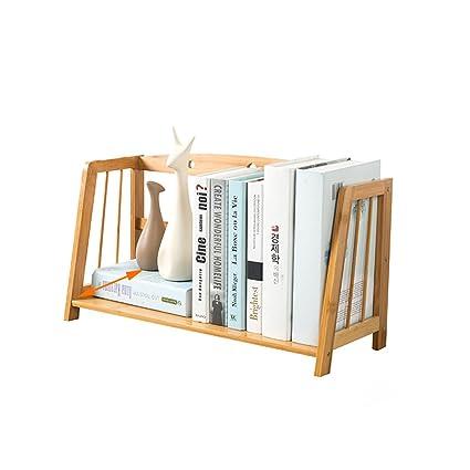 Bamboo Empty Desktop Bookshelf Simple Storage Rack Student Office Mini Bookcase Desk